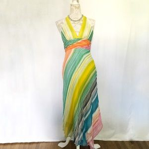 BCBG Maxazria // Rainbow Striped Beaded Maxi Dress